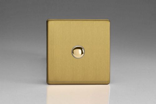 Varilight XEBP1S Euro Brushed Brass 1 Gang 6A 1 or 2 Way Push-On/Off Impulse Switch
